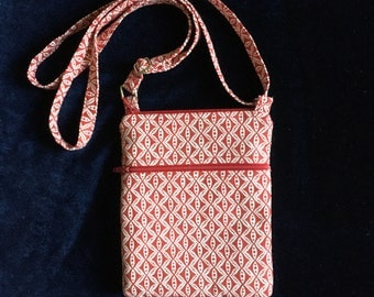 Cell phone bag; Small crossbody bag; Red and white