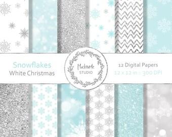 Snowflake digital paper - Snowflake clipart, Scrapbook paper, Christmas Digital Paper, White Winter Digital Paper, Commercial use, Snowflake