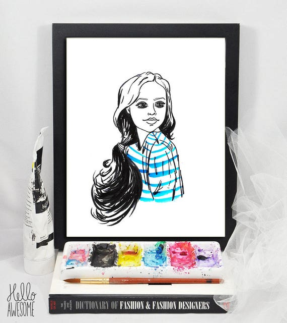 Royal Blue Modest Fashion Illustration 8x10 Print