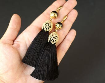 Black Silk Tassel Earrings with Agate Gemstone and Gold Plated Earwires Long Tassels Earrings Black Jewelry