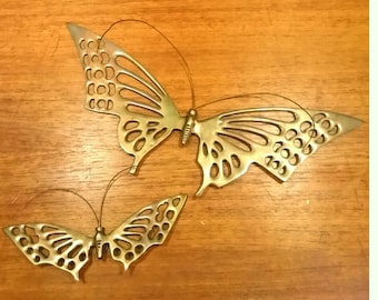 Vintage Brass Butterfly Wall Hangings - Set of 2