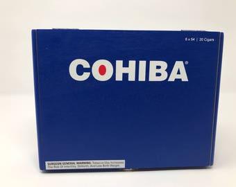 Wooden Cigar Box, Cobalt Blue, Cohiba Cigar Box