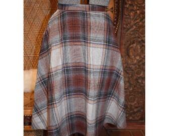 Vintage 70s Plaid Skirt, High Waisted