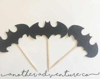 12 glitter black batman cupcake toppers, birthday party, king, queen,cup cakes, halloween, robin