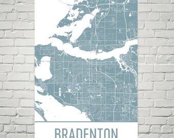 Bradenton Map, Bradenton Art, Bradenton Print, Bradenton FL Poster, Bradenton Wall Art, Florida Gifts, Map of Florida, Florida Poster, Art