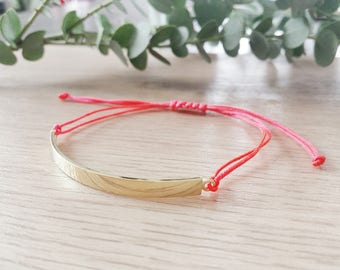 Half gold plated Bangle and cord macrame knot