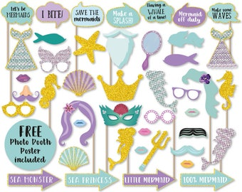 Mermaid Photo Booth Props, Printable Mermaid Photo Booth Props, Instant Download Mermaid Photo Booth Props, Mermaid Party, Mermaid Birthday