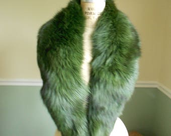 Fox Fur Collar / Dyed Green Fox Collar