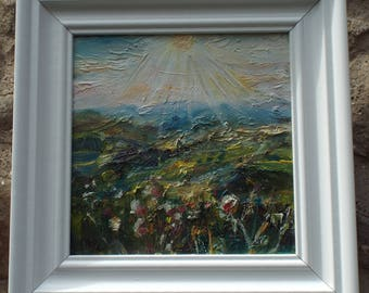 Sunburst over Swaledale. Oil on canvas. Yorkshire Dales