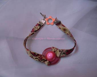 Liberty fabric bracelet Pearl and fuschia pink frosted glass