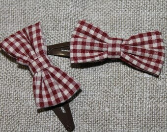 Hair clip adorned with pretty gingham pattern bow