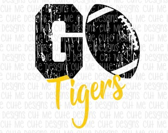 SVG DXF PNG cut file cricut silhouette cameo scrap booking Go Tigers Distressed Football