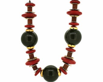 1940s Bakelite, Wood and Gilt Metal Vintage Necklace