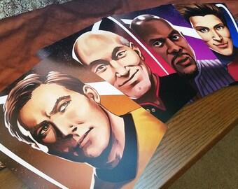 "Star Trek 8x10"" Captain Portraits - Kirk, Picard, Sisko, & Janeway"