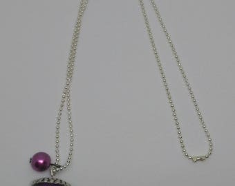 Resin necklace purple bubble inclusion