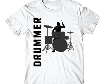 Drummer Silhouette Cool Drumming T-Shirt