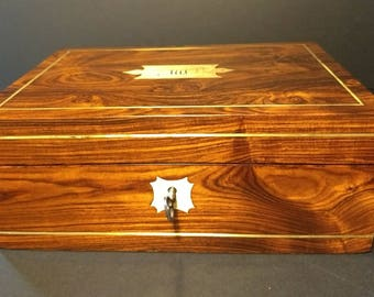 Antique Rosewood Jewellery Box Watch Box Pen Box Collectors Box