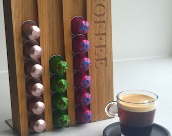 Coffee Pod Holder for Nespresso® - solid oak