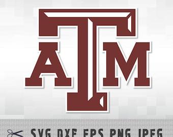 Texas A&M ATM Aggies University SVG PnG DXF Logo Cut File Silhouette Cameo Cricut Design Template Stencil Vinyl Decal Heat Transfer Iron on