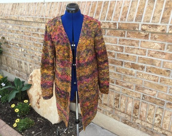 Hand knit multicolored long cardigan with pockets