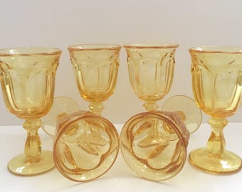 6 Old Williamsburg Gold Wine/Water Goblets // Set of 6 // 1970's