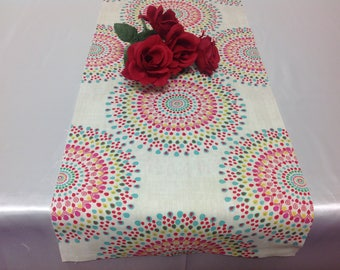 Handmade Tablerunner 13W x 36L in Festive Red/green/yellow/blue Print, Home Decor, Ready to ship