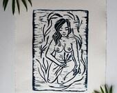 Farmer's Daughter Linocut Print