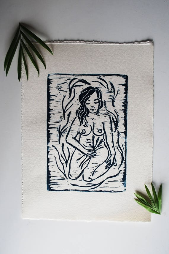 Farmer's Daughter Linocut Print
