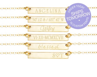 Personalized Necklace, Personalized Jewelry, Personalized Bar Necklace, Engraved Necklace,  Gold Fill, Rose Gold Fill, Silver, H425/435