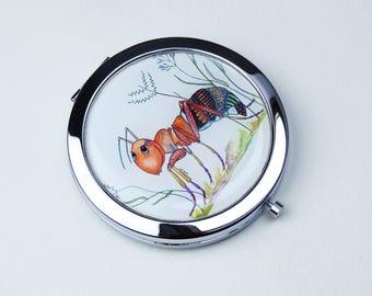 Compact Mirror  - Small Round Mirror - Pocket Mirror - Ant Mirror - Hand Mirror - Metal Mirror - Magnifying Mirror - Cute Mirror - Ant