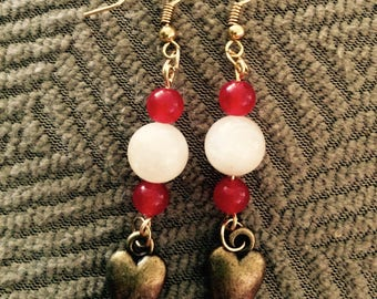 Heart Earrings with red jade and moonstone beads