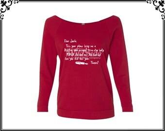 Dear Santa T-shirt Santa T-shirt Christmas Shirt Merry Christmas T-shirt Christmas T-shirt Womens Off Shoulder Three Quarter Sleeves T shirt