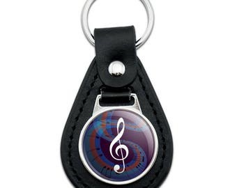 Treble Clef on Music Notes Black Leather Keychain