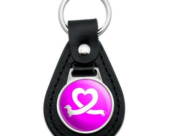 Dachshund Wiener Dog Love Heart Black Leather Keychain
