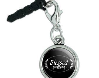 Blessed Halo On Black Mobile Cell Phone Headphone Jack Anti-Dust Charm fits iPhone iPod Galaxy