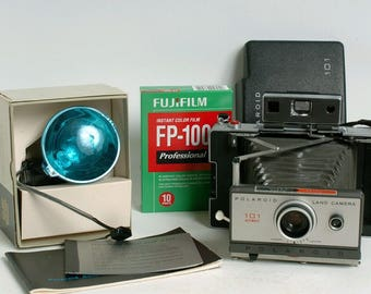 Polaroid Land 101 instant Film Camera + FUJI-FP100C, Flash, Flash bulb SUPER KIT! Full serviced and battery modified!