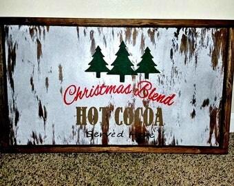 Large Ottoman Tray, Cocoa Tray, Christmas Tray, Framed Cocoa Sign
