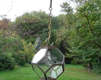 Pretty vintage French unusual brass lantern (10B)
