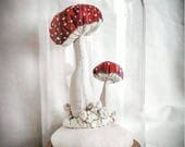Amanita mushrooms textile sculpture ( RESERVED) for rhiannon special order for june 1st