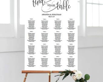 Seating Chart Wedding Template - Wedding Seating Chart Alphabetical - Simple Wedding - Find your Table - Downloadable wedding #WDH657ST286