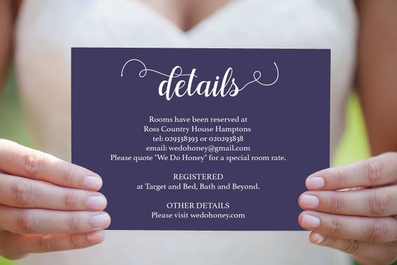 Details Insert Card Printable