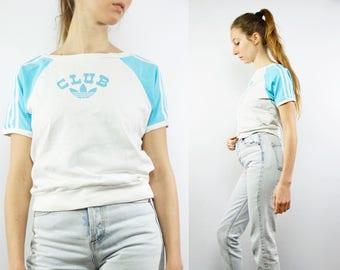 Adidas Tee / Adidas Crop Top / Adidas T Shirt / Adidas T-Shirt / Adidas Club / Adidas Retro / Adidas Vintage / Adidas Tee / Adidas Women