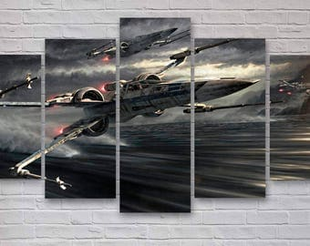 Star Wars X-Wing 5 Panel Canvas, X-Wing Fighter, X-Wing Wall Art, Office Decor, Bedroom Decor, Home Decor #119