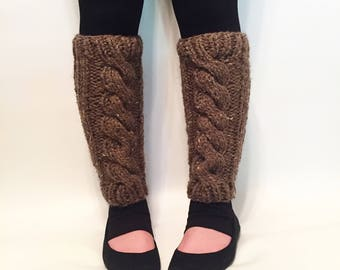 ON SALE, Women's Cable Knit Leg Warmers, Wool Knit Leg Warmers