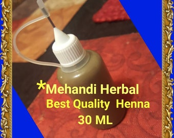 Ready-to-use 100% Natural Top Quality Mehandi Herbal Henna with Needle tip Applicator Bottle