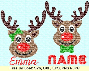 Christmas reindeer svg deer antler cheer bow girl boy names monogram svg files for cricut silhouette shirt clipart decal design dxf cut file