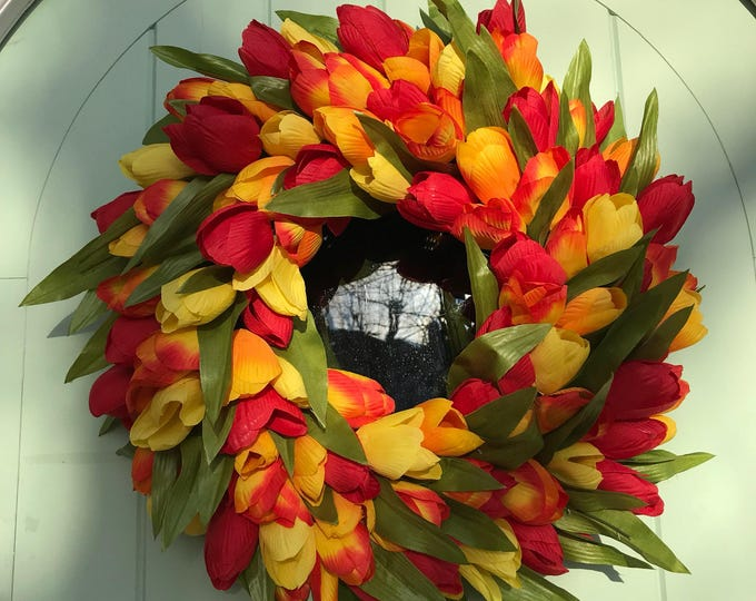 Orange red and yellow spring tulip wreath