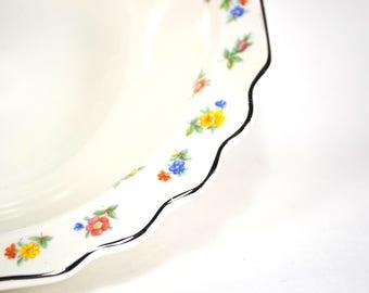 Vintage WS George China Floral Serving Bowl, Parseme, Lido White China, Vintage Vegetable Bowl, 1940s Vintage Cottage Chic China 418