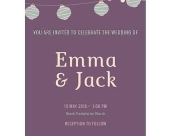 Lantern Love Wedding Invitation Package (Bundle of 25)