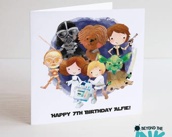 Personalised Star Wars Birthday Card - Star Wars Fan - Rogue One - Darth - Yoda - Personalized